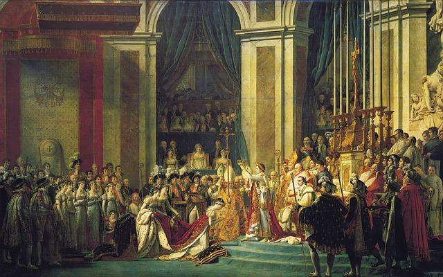 Napoléons kroningsceremoni i Notre-Dame kirken i Paris 1804 (Jacques-Louis David)