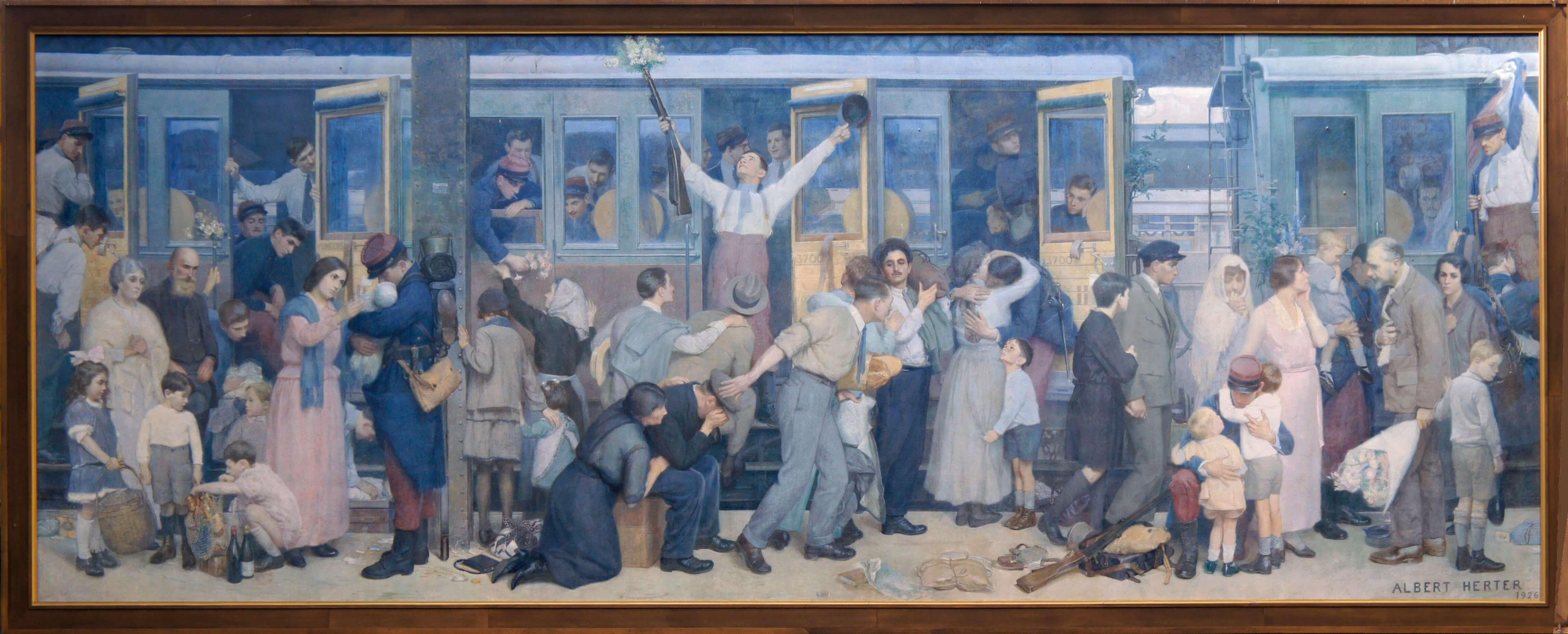 Le départ des poilus août 1914. Albert Herter. Paris, Gare de l'Est